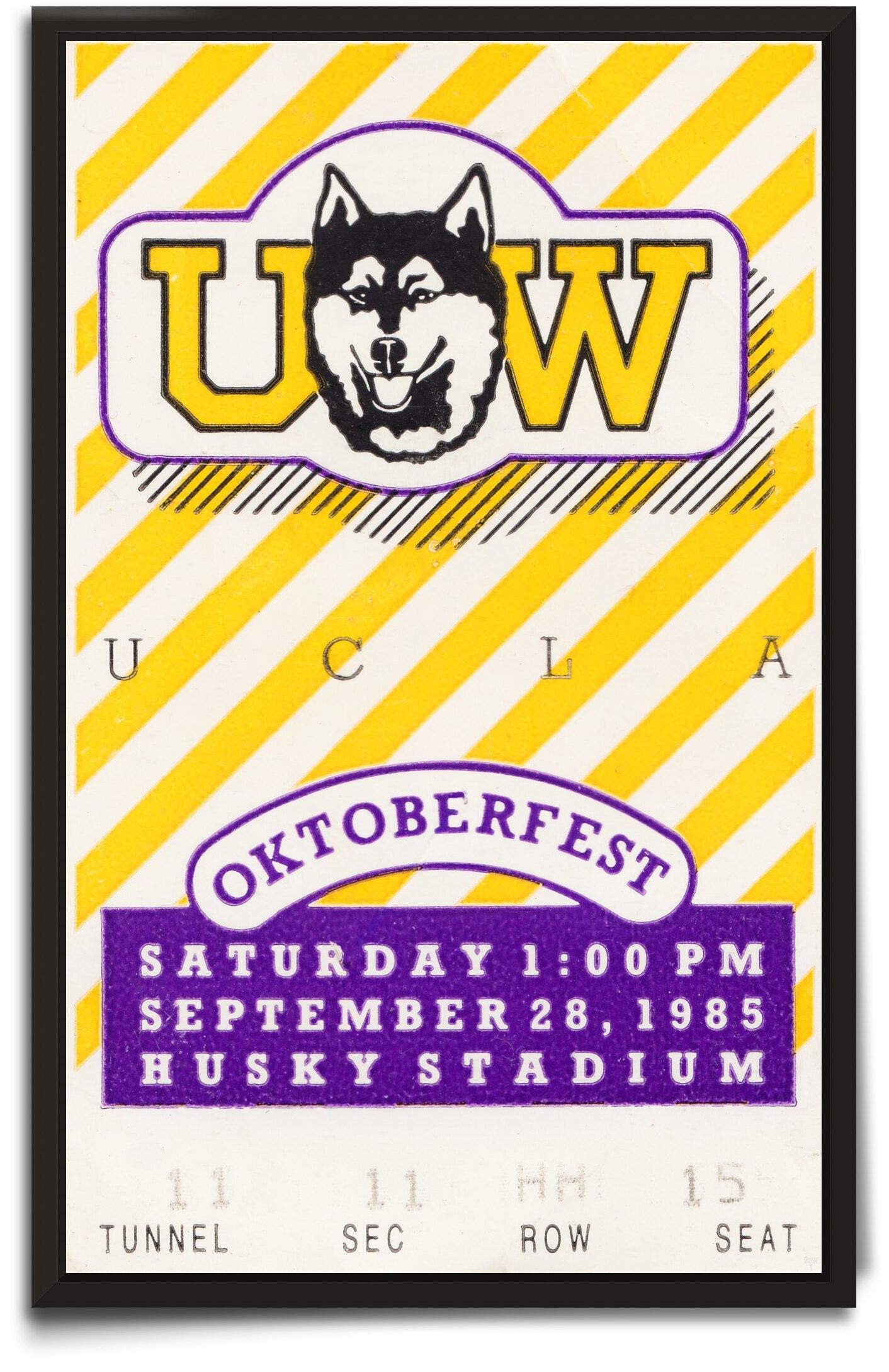 1985 UCLA Bruins vs. Washington Huskies Football Ticket Canvas by Row One Brand