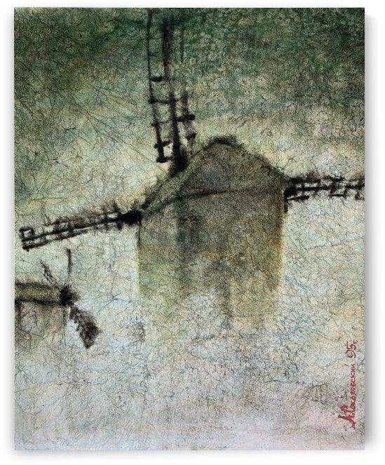 Windmills in the fog by Alexander Sokolowski