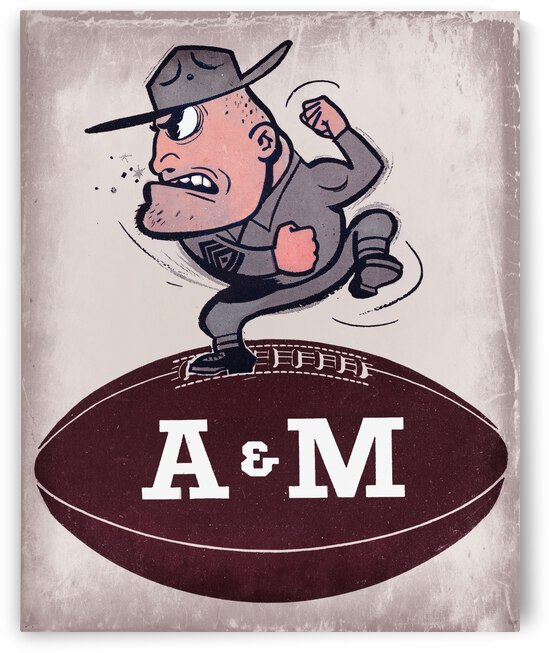 1957 Texas A&M Vintage Football Art by Row One Brand