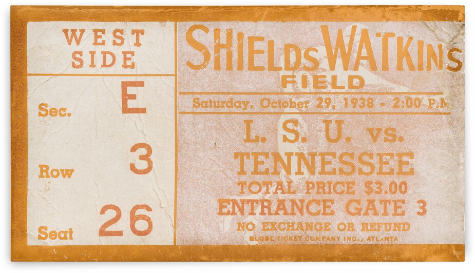 1938 Tennessee vs. LSU Football Ticket Art by Row One Brand