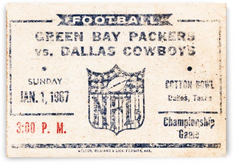 1967 Dallas Cowboys vs. Green Bay Ticket Art by Row One Brand