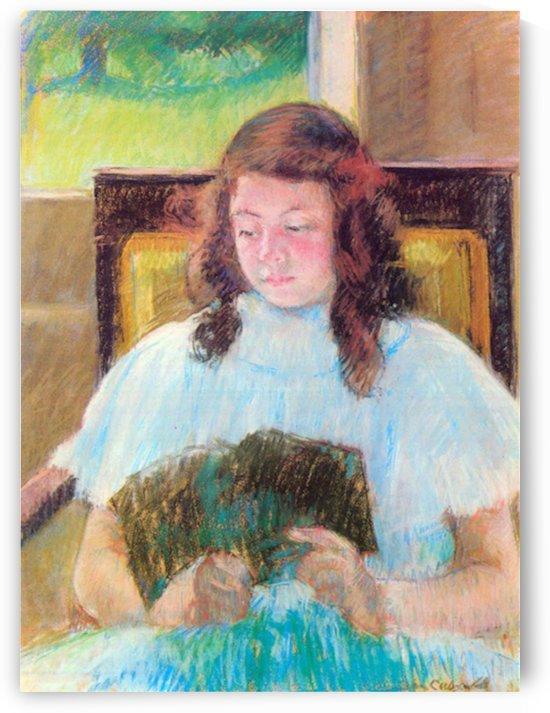 Young girl reading by Cassatt by Cassatt