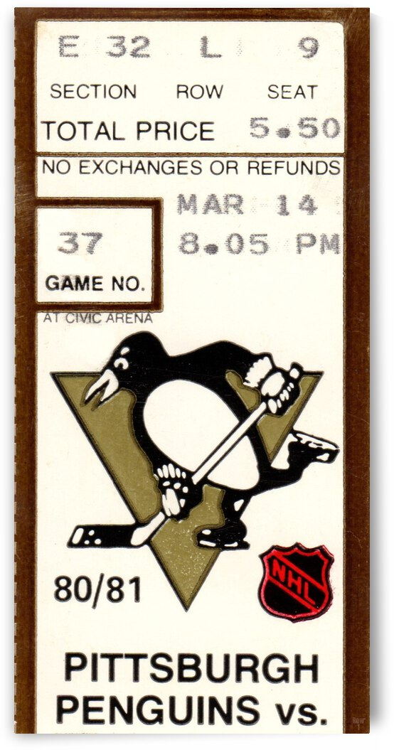 1981 Pittsburgh Penguins vs. Quebec by Row One Brand