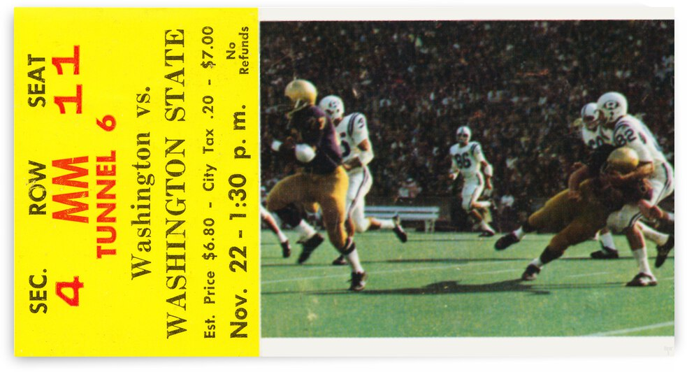 1969 Washington State vs. Washington Huskies Football Ticket by Row One Brand
