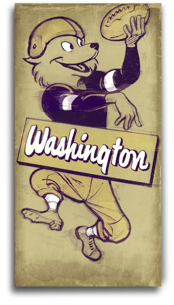 1955 Washington Husky Football Cartoon Art by Row One Brand
