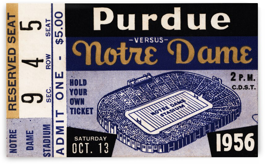 1956 Purdue Boilermakers vs. Notre Dame Irish by Row One Brand