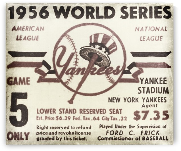 1956 World Series Game 5 Ticket Art by Row One Brand