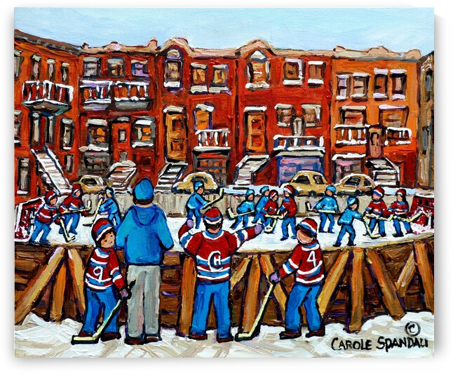 OUTDOOR CITY RINK MONTREAL WINTER SCENE by Carole  Spandau