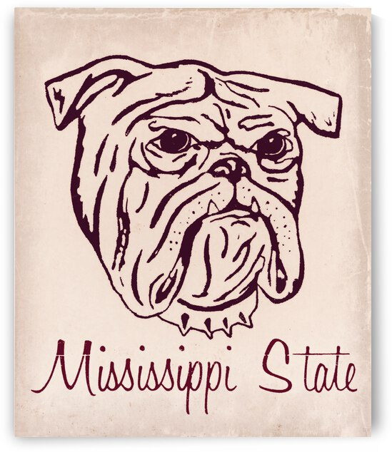 1967 Mississippi State Bulldog Art by Row One Brand