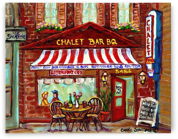 ROTISSERIE CHALET BAR B Q MONTREAL STREET SCENE ART by Carole  Spandau