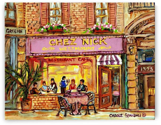 RESTAURANT CHEZ NICK  MONTREAL STREET SCENE by Carole  Spandau