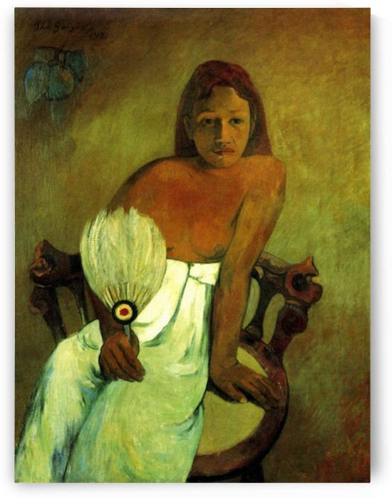 Young Girl with Fan by Gauguin by Gauguin