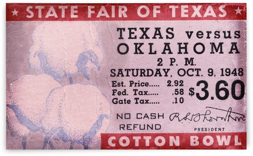 1948 Oklahoma Texas Ticket Stub Art by Row One Brand