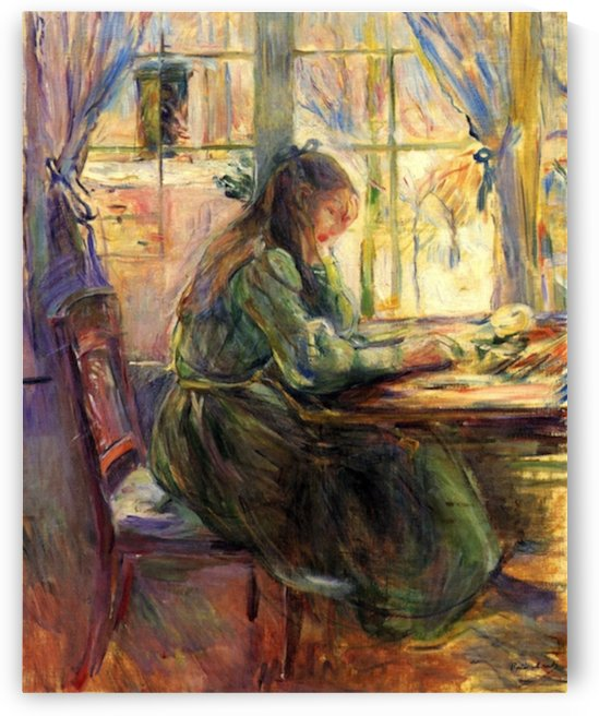 Young girl writing by Morisot by Morisot