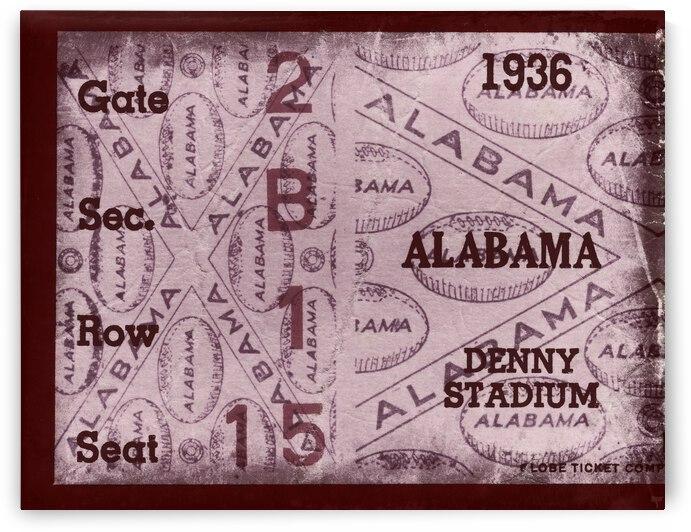 1936 Alabama Football Ticket Remix Art by Row One Brand