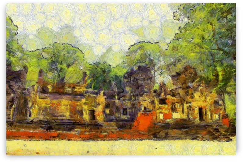 CAMBODIA Angkor Wat oil painting in Vincent van Gogh style. 135 by Cambodia painting