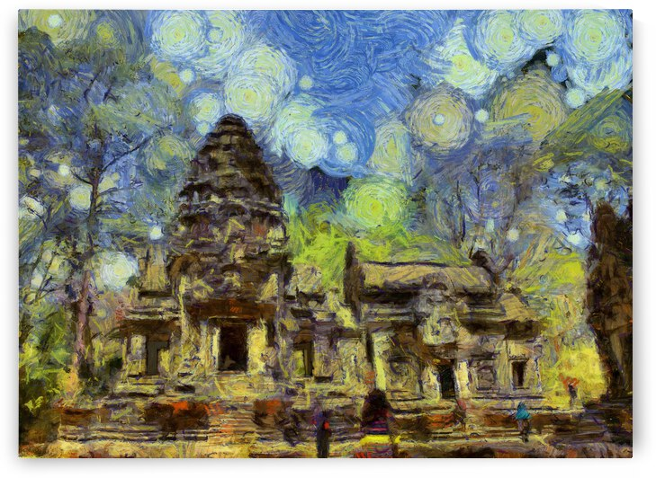 CAMBODIA Angkor Wat oil painting in Vincent van Gogh style. 138 by Cambodia painting