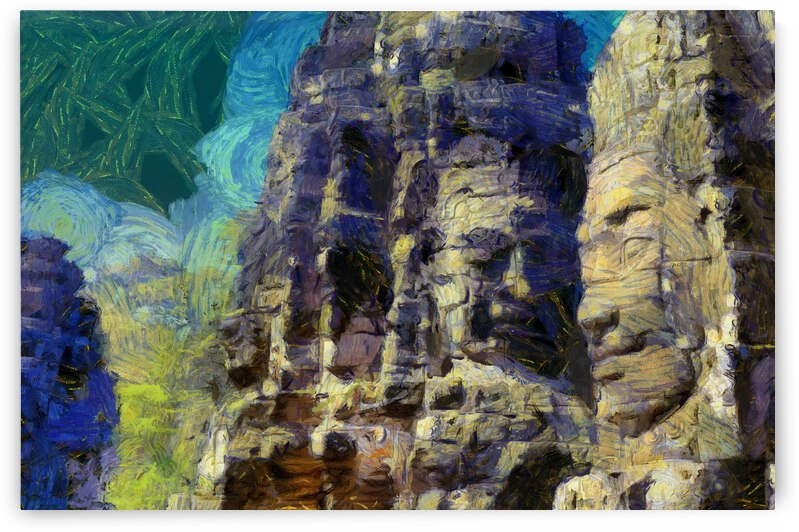 CAMBODIA Angkor Wat oil painting in Vincent van Gogh style. 125 by Cambodia painting