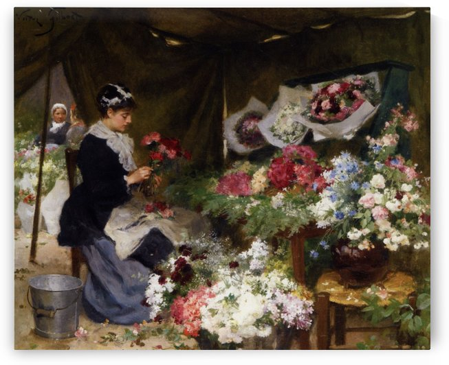 Flower Seller Making Bouquets by Victor Gilbert