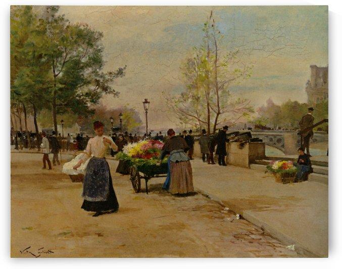 Flower sellers near bridge by Victor Gilbert