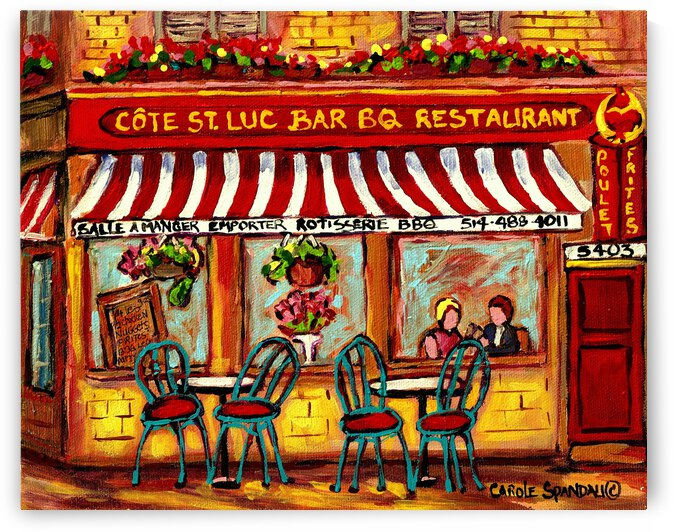 ROTISSERIE COTE ST LUC BBQ PAINTINGS OF MONTREAL  by Carole  Spandau