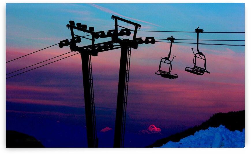 Chair Lift Sunset Mt.Assiniboine by Stephan Malette