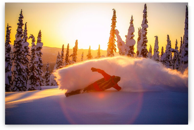 Snowboarding - Sunset - Baldface Lodge by Stephan Malette