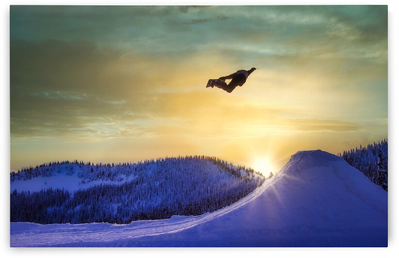 Flying Snowboarder - Baldface Lodge by Stephan Malette