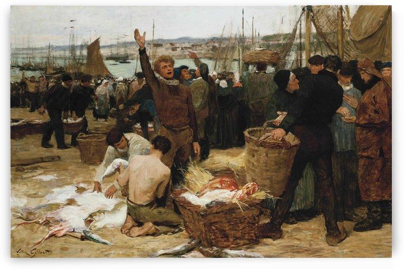 Fish market near port by Victor Gilbert