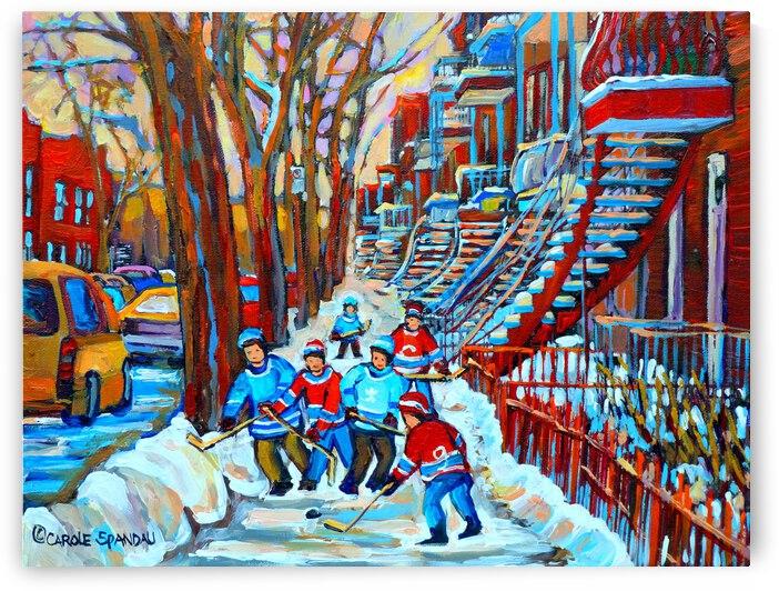 HOCKEY ON DEBULLION MONTREAL WINTER SCENE by Carole  Spandau