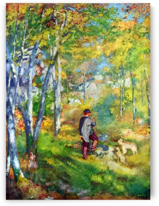 Young man in the forest of Fontainebleau by Renoir by Renoir