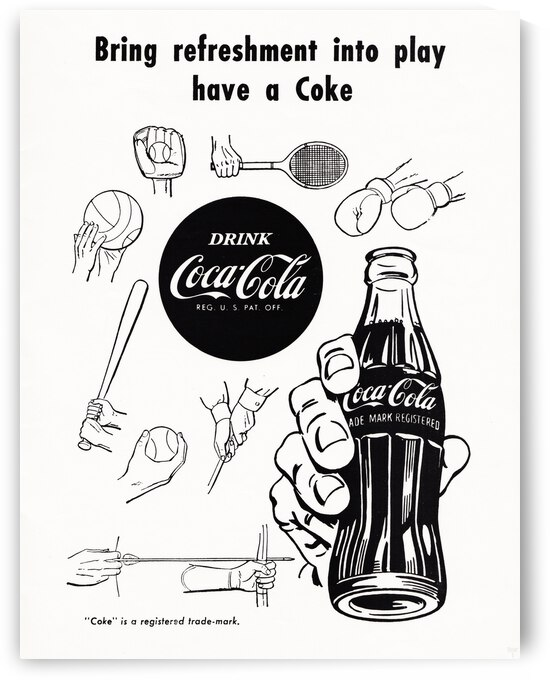 1952 Vintage Coke Ad Sports Art by Row One Brand