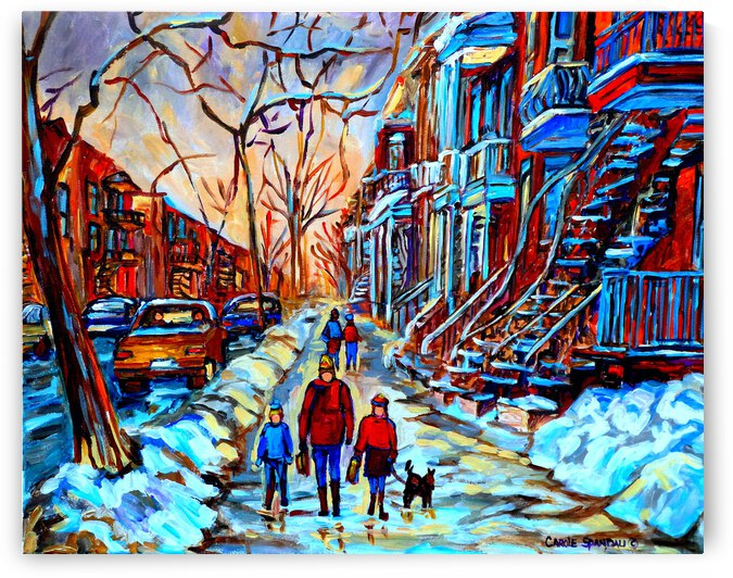 MONTREAL WINTER STREET SCENE STROLLING IN PLATEAU MONT ROYAL NEAR OUTDOOR STAIRCASES by Carole  Spandau