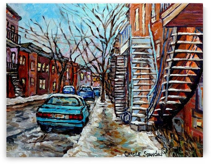 MONTREAL WINTER SCENE PLATEAU MONT ROYAL SNOWY STREET by Carole  Spandau