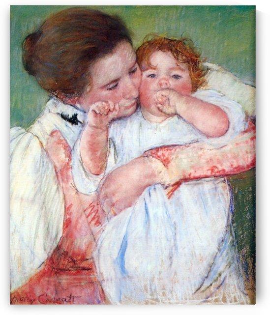 Young mothers embrace by Cassatt by Cassatt
