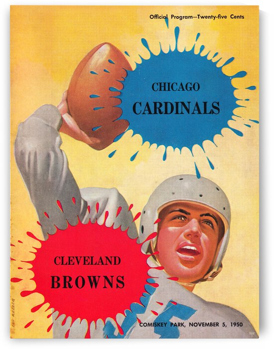 1950 Chicago Cardinals vs. Cleveland Browns Football Program Cover Art by Row One Brand