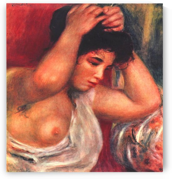 Young woman hairdressing by Renoir by Renoir