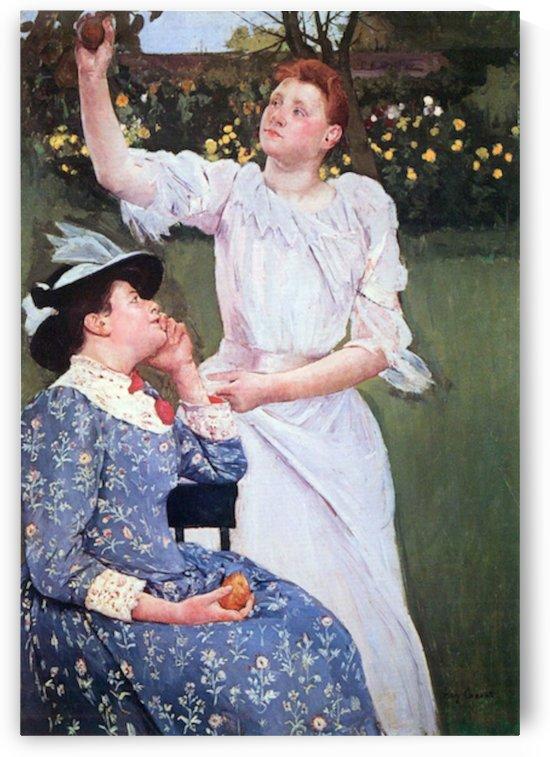 Young woman picking fruit by Cassatt by Cassatt