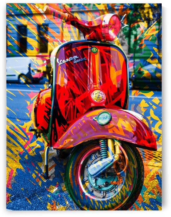 Red Vespa Pop Graffiti in Bologna by Signorino