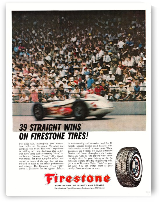 1963 Firestone Ad Auto Racing Metal Sign by Row One Brand