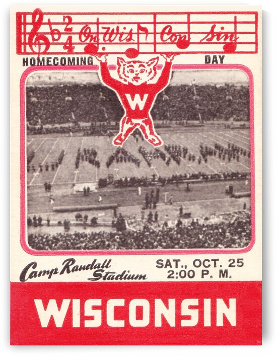 1941 Wisconsin Badgers Football Ticket Remix by Row One Brand
