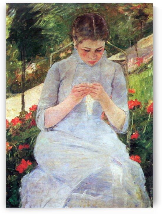 Young woman sewing in the garden by Cassatt by Cassatt