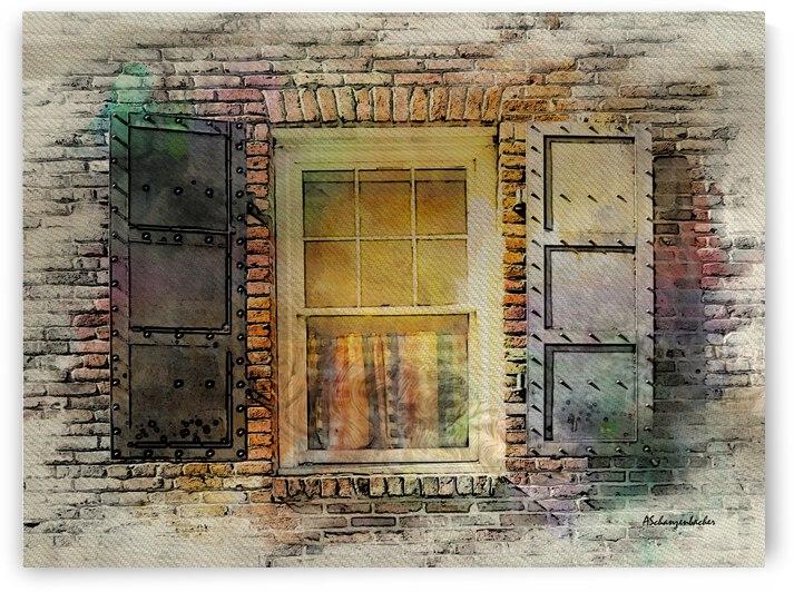 Brick and metal window  by Aurelia Schanzenbacher Sisters Fine Arts