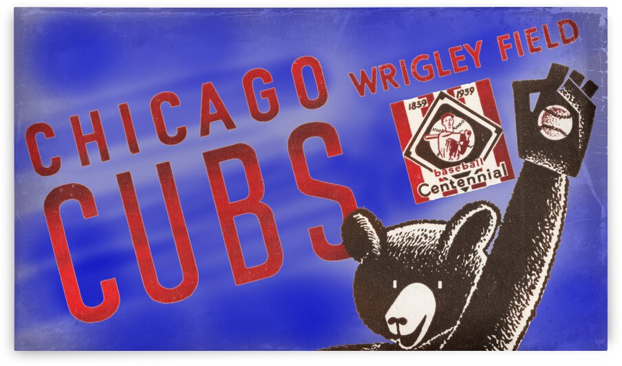 1939 Chicago Cubs Baseball Art Remix by Row One Brand