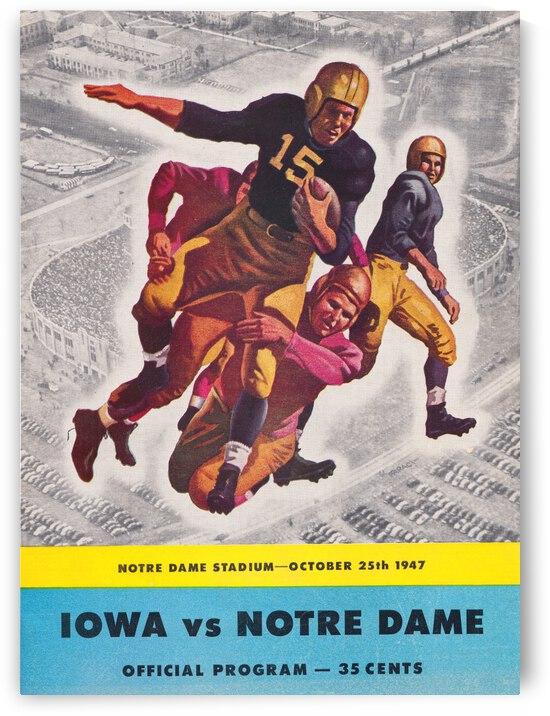 1947 Notre Dame vs. Iowa Football Program Cover Art by Row One Brand