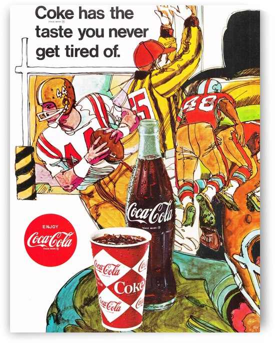 1969 Coke Football Ad Poster by Row One Brand