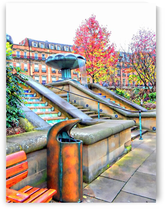 Sheffield Peace Gardens Fountain View by Dorothy Berry-Lound