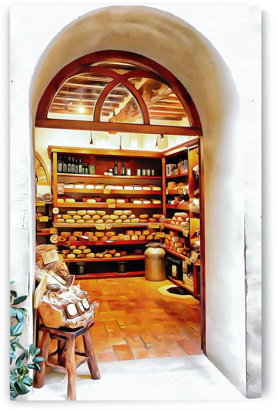 View Into Cheese Shop Pienza by Dorothy Berry-Lound