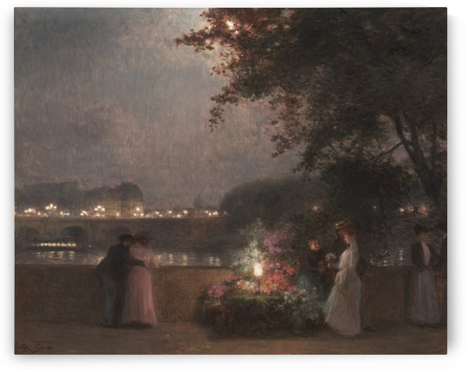 Flower seller on a bridge during night by Victor Gilbert
