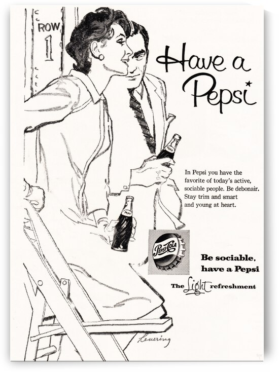 1960 Pepsi Advertisement Poster by Row One Brand